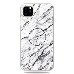 3D Marble Soft Silicone TPU Case Cover with Bracket for iPhone XI 2019(White)