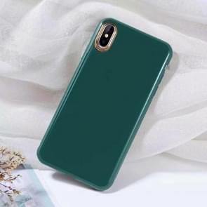 Effen kleur verguld TPU telefoon Case voor iPhone XS (donkergroen)
