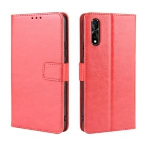 Retro Crazy Horse Texture Horizontal Flip Leather Case for vivo iQOO Neo / S1 / Y7S / Z5  , with Holder & Card Slots & Photo Frame(Red)