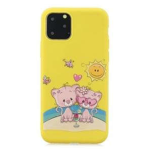 Frosted Pattern TPU Protective Case for iPhone 11 Pro(Lovers Bear)