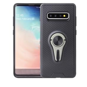 Non-slip Y-shaped TPU Mobile Phone Case with Rotating Car Bracket for Galaxy S10 Plus(Green)