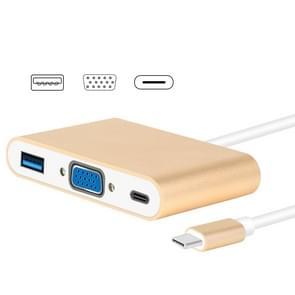 USB type C naar VGA 3-in-1 hub adapter ondersteunt USB type C Tablets en laptops voor MacBook Pro/Google ChromeBook (goud)