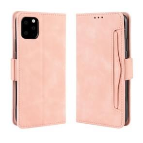 Portemonnee stijl huid gevoel kalf patroon lederen draagtas voor iPhone XI 2019  met aparte kaartsleuf (roze)