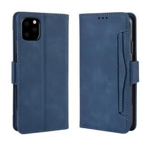 Portemonnee stijl huid gevoel kalf patroon lederen draagtas voor iPhone XI MAX 2019  met aparte kaartsleuf (blauw)