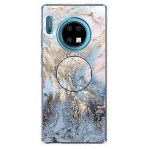 3D Marble Soft Silicone TPU Case Cover Bracket  For Huawei Mate 30 Pro(Gold Ash)