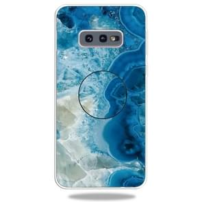 3D Marble Soft Silicone TPU Case Cover Bracket For Galaxy S10e(Light Blue)
