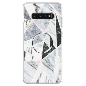 3D Marble Soft Silicone TPU Case Cover Bracket For Galaxy S10+(Polytriangle)