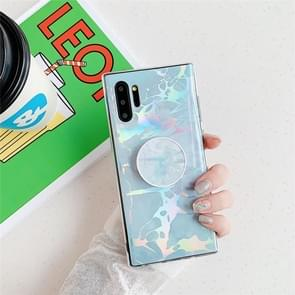 TPU Glossy Laser Marble Colorful Mobile Phone Protective Case with Folding Bracket for Galaxy Note10+(Blue)