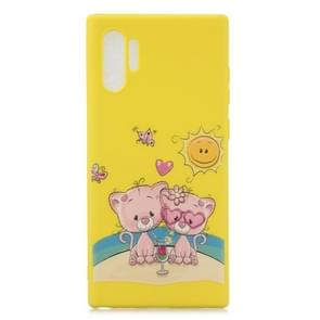 Frosted patroon TPU beschermhoes voor Galaxy Note 10 + (Lovers Bear)