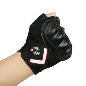 Automatische inductie turn signaal handschoenen rijden waarschuwing licht handschoenen  kleur: zwart (XS)