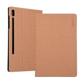 ENKAY denim patroon horizontale Flip lederen draagtas met houder voor Galaxy tab S6 10,5 T860/T865 (licht bruin)