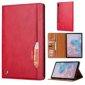 For Galaxy Tab S6 / T860 /T865 Knead Skin Texture Horizontal Flip Leather Case with Photo Frame & Holder & Card Slots & Wallet(Red)