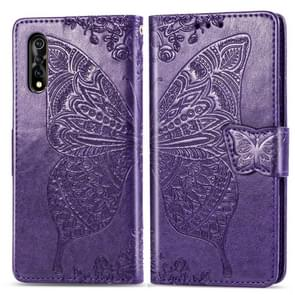For Vivo Y7s / S1 Butterfly Love Flowers Embossing Horizontal Flip Leather Case with Holder & Card Slots & Wallet & Lanyard(Dark Purple)