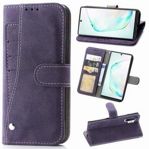 For Galaxy Note10+  Matte Leather Rotary Card Case with Card Slot and Photo Frame and Stand Function(Purple)