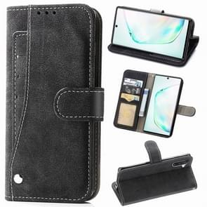 For Galaxy Note 10 Matte Leather Rotary Card Case with Card Slot and Photo Frame and Stand Function(Black)