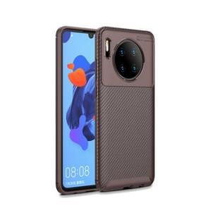 Voor Huawei Mate30 kever serie Carbon Fiber textuur schokbestendig TPU case (bruin)