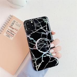 Voor iPhone 11 TPU glanzende Laser marmer kleurrijke mobiele telefoon beschermhoes met vouw beugel (zwart)