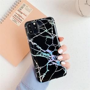 Voor iPhone 11 TPU glanzende Laser marmer IMD kleurrijke mobiele telefoon geval (zwart)