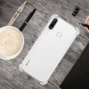 For Huawei P30 Lite Four-Corner Anti-Drop Ultra-Thin Transparent TPU Phone Case(Transparent)