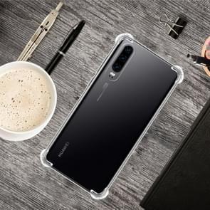 For Huawei P30 Four-Corner Anti-Drop Ultra-Thin Transparent TPU Phone Case(Transparent)