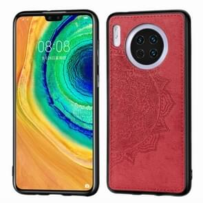 For Huawei Mate 30 , Embossed Mandala pattern PC + TPU + Fabric Phone Case with Lanyard & Magnetic(Red)