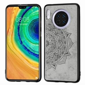For Huawei Mate 30 , Embossed Mandala pattern PC + TPU + Fabric Phone Case with Lanyard & Magnetic(Gray)