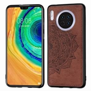 For Huawei Mate 30 , Embossed Mandala pattern PC + TPU + Fabric Phone Case with Lanyard & Magnetic(Brown)