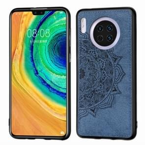 For Huawei Mate 30 , Embossed Mandala pattern PC + TPU + Fabric Phone Case with Lanyard & Magnetic(Blue)