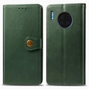 Voor Huawei mate 30 retro effen kleur lederen gesp mobiele telefoon bescherming lederen draagtas met foto frame & kaartsleuf & portemonnee & beugel functie (groen)
