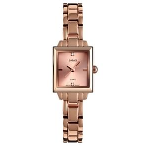 SKMEI 1407 Business Fashion Watch with Diamonds Delicate and Elegant Square Zinc Alloy Quartz Watch for Women Rose Gold