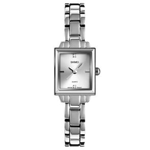 SKMEI 1407 Business Fashion Watch with Diamonds Delicate and Elegant Square Zinc Alloy Quartz Watch for Women Silvery