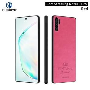 Voor Galaxy Note10 Pro PINWUYO PIN Rui serie klassiek leer  PC + TPU + PU leer waterdicht en anti-Fall all-inclusive beschermende shell (rood)