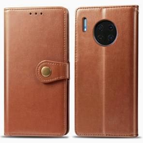 Voor Huawei mate 30 Hat-Prince Litchi textuur horizontale Flip lederen draagtas met kaartsleuven bruin