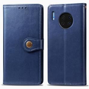 Voor Huawei mate 30 Hat-Prince Litchi textuur horizontale Flip lederen draagtas met kaartsleuven donkerblauw