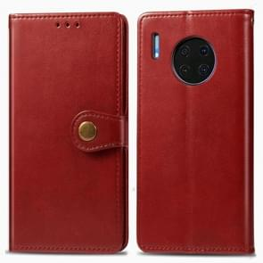 Voor Huawei mate 30 Hat-Prince Litchi textuur horizontale Flip lederen draagtas met kaartsleuven rood