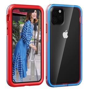 Voor iPhone 11 2 in 1 TPU + PC effen kleur combinatie drop (rood + blauw)