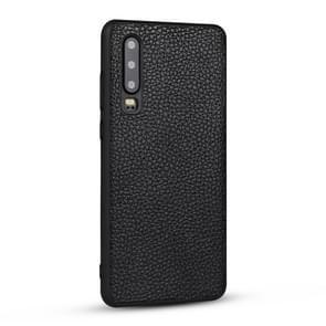 Voor Huawei P30 Litchi patroon lederen anti-Falling TPU mobiele telefoon shell beschermende case (zwart)