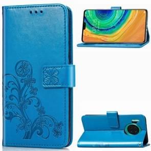 Voor Huawei mate 30 4-blad clasp reliëf Buckle mobiele telefoon bescherming lederen draagtas met Lanyard & Card slot & portemonnee & beugel functie (blauw)