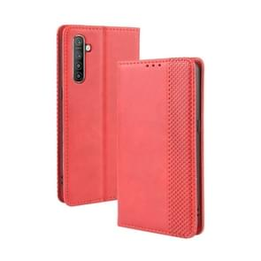 For Oppo Realme XT / Realme X2 / K5   Magnetic Buckle Retro Crazy Horse Texture Horizontal Flip Leather Case with Holder & Card Slots & Photo Frame(Red)