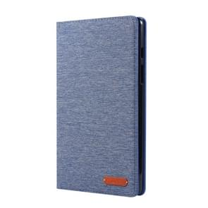 For Galaxy Tab A8.0  T290 / T295 (2019) Cloth Teature Horizontal Flip PU Leather Case with with Holder & Card Slots(Deep Blue)