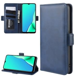 For OPPO A9 (2020) Dual-side Magnetic Buckle Horizontal Flip Leather Case with Holder & Card Slots & Wallet & Photo Frame(Dark Blue)