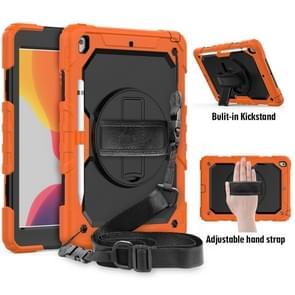 For iPad 10.2    Shockproof Colorful Silica Gel + PC Protective Case with Holder & Shoulder Strap & Hand Strap & Pen Slot(Orange)