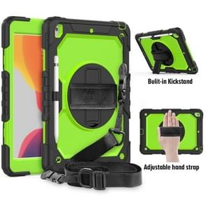 For iPad 10.2    Shockproof Colorful Silica Gel + PC Protective Case with Holder & Shoulder Strap & Hand Strap & Pen Slot(Black+Green)