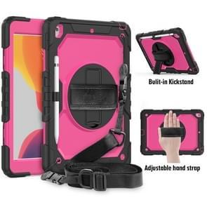 For iPad 10.2    Shockproof Colorful Silica Gel + PC Protective Case with Holder & Shoulder Strap & Hand Strap & Pen Slot(Black+Hot Pink)