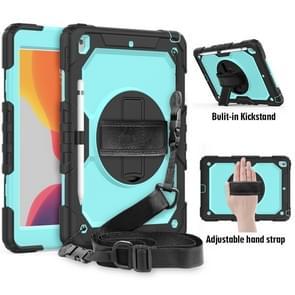 For iPad 10.2    Shockproof Colorful Silica Gel + PC Protective Case with Holder & Shoulder Strap & Hand Strap & Pen Slot(Black+Teal)