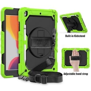For iPad 10.2    Shockproof Colorful Silica Gel + PC Protective Case with Holder & Shoulder Strap & Hand Strap & Pen Slot(Green)