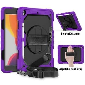 For iPad 10.2    Shockproof Colorful Silica Gel + PC Protective Case with Holder & Shoulder Strap & Hand Strap & Pen Slot(Purple)