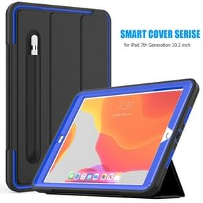 For iPad 10.2     Magnetic Horizontal Flip Protective Case with Three-folding Holder & Sleep / Wake-up Function & Pen Slots(Blue)
