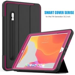 For iPad 10.2     Magnetic Horizontal Flip Protective Case with Three-folding Holder & Sleep / Wake-up Function & Pen Slots(Hot Pink)