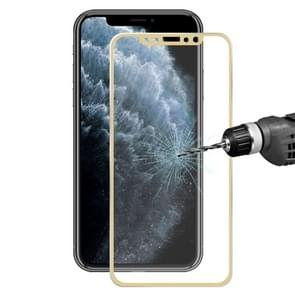 For iPhone 11 Pro / iPhone XS / iPhone X Hat-Prince 0.2mm 9H Surface Hardness 3D Titanium Alloy Curved Edge Explosion-proof Tempered Glass Screen Protector(Gold)